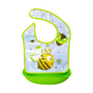 Little Sparks Waterproof Baby Bib with Detachable Silicone Pocket Bee Yellow