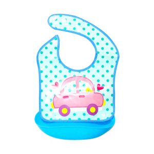 Little Sparks Waterproof Baby Bib with Detachable Silicone Pocket Car Blue