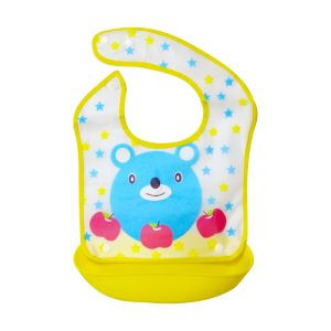 Little Sparks Waterproof Baby Bib with Detachable Silicone Pocket Bear Yellow