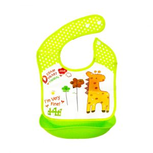 Little Sparks Waterproof Baby Bib with Detachable Silicone Pocket Giraffe Green