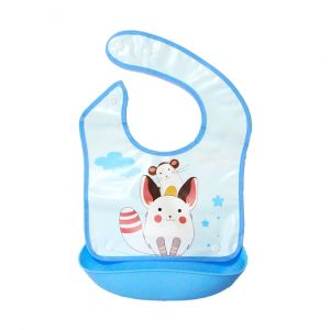 Little Sparks Waterproof Baby Bib with Detachable Silicone Pocket Rabbit Blue
