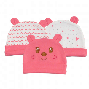 Little Star Caps Pack Of 3 Bear Pink