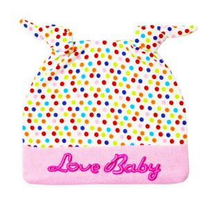 Little star Baby Knot Cap Multicolor Dots Pink