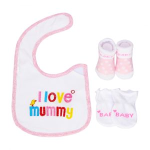 Little One Baby Bib & Booties Set Love Mommy Pink