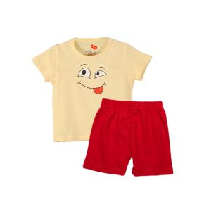 AllureP T-shirt Lime Smiley H-S Red Shorts