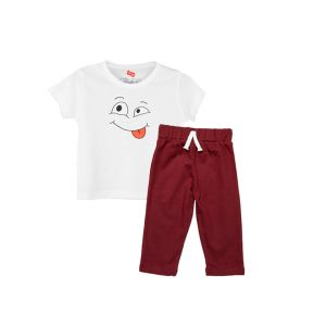 AllureP T-shirt White Smiley Maroon Trousers