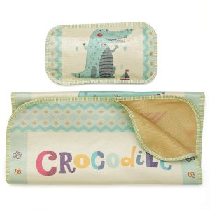 Little Star Baby Waterproof Sheet With Pillow Crocodile Green