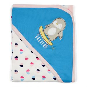 Little Sparks Cotton Wrapping Sheet Penguin Blue & Grey