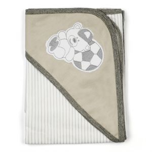 Little Sparks Cotton Wrapping Sheet Football Grey Stripes