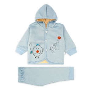 Little Sparks Baby Double ply Hooded Suit Baseball Blue