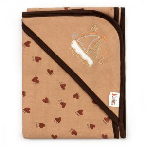 Little Sparks Wrapping Sheet Love Hearts Brown