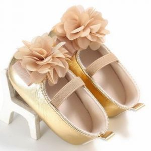 Baby Steps Shoes Shiny Flower Golden