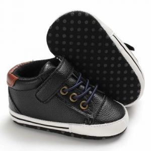 Baby Steps Shoes Brown Patch Laces Navy