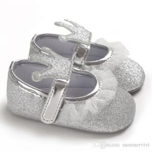 Baby Steps Shoes Shiny Crown Silver