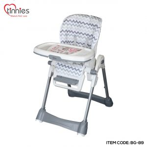 TINNIES BABY ADJUSTABLE HIGH CHAIR GREY STRIPER