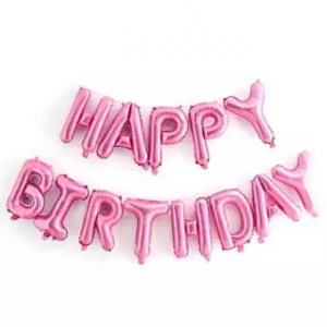 Little Sparks Happy Birthday Foil Balloon Pink