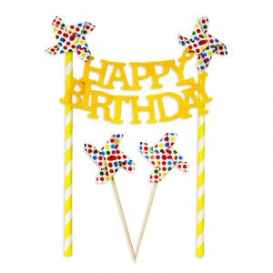 Little Sparks Happy Birthday Cake Topper Yellow