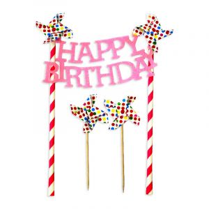 Little Sparks Happy Birthday Cake Topper Pink