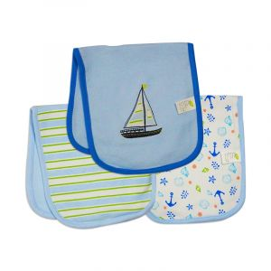 Careone Pack Of 3 Baby Burp Cloth Set Boat Blue