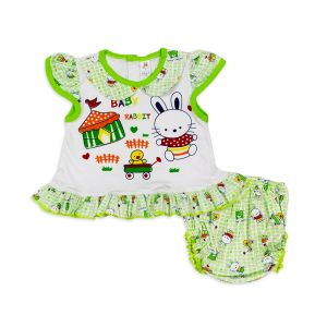 Little Sparks Baby Frock Set Baby Rabbit Green