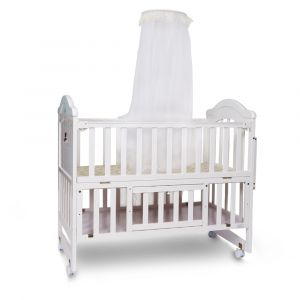 TINNIES WOODEN COT-WHITE