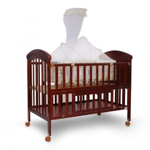 TINNIES WOODEN COT-BROWN